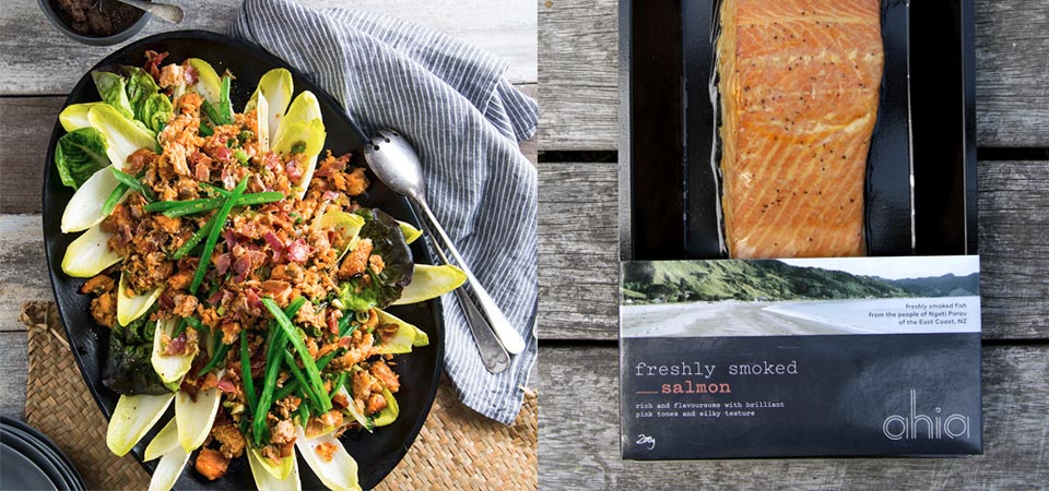 recipe banner WARM SALAD OF SMOKED SALMON WITH BEANS
